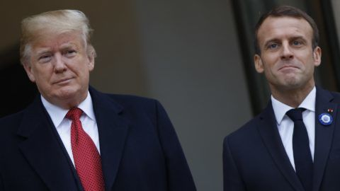 US President Donald Trump and French president Emmanuel Macron at the Elysee Palace in Paris, on November 10, 2018, on the sidelines of commemorations marking the 100th anniversary of the 11 November 1918 armistice, ending World War (Photo by Mehdi Taamallah / Nurphoto) (Photo by Mehdi Taamallah/NurPhoto)