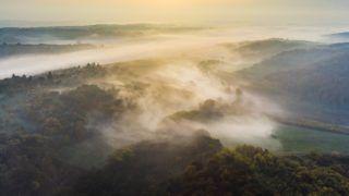 Nagybakónak, 2018. november 3. Hajnali köd a Zala megyei Nagybakónaknál 2018. november 3-án. MTI/Varga György