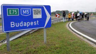 Röszke, 2015. szeptember 5. Illegális bevándorlók gyalogolnak az M5-ös autópálya felhajtóján Röszke külterületén 2015. szeptember 5-én. MTI Fotó: Kelemen Zoltán Gergely