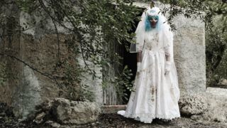 a scary evil clown wearing a dirty and ragged bride dress, at the door of a rustic shelter, in a disturbing rural landscape (a scary evil clown wearing a dirty and ragged bride dress, at the door of a rustic shelter, in a disturbing rural landscape, A