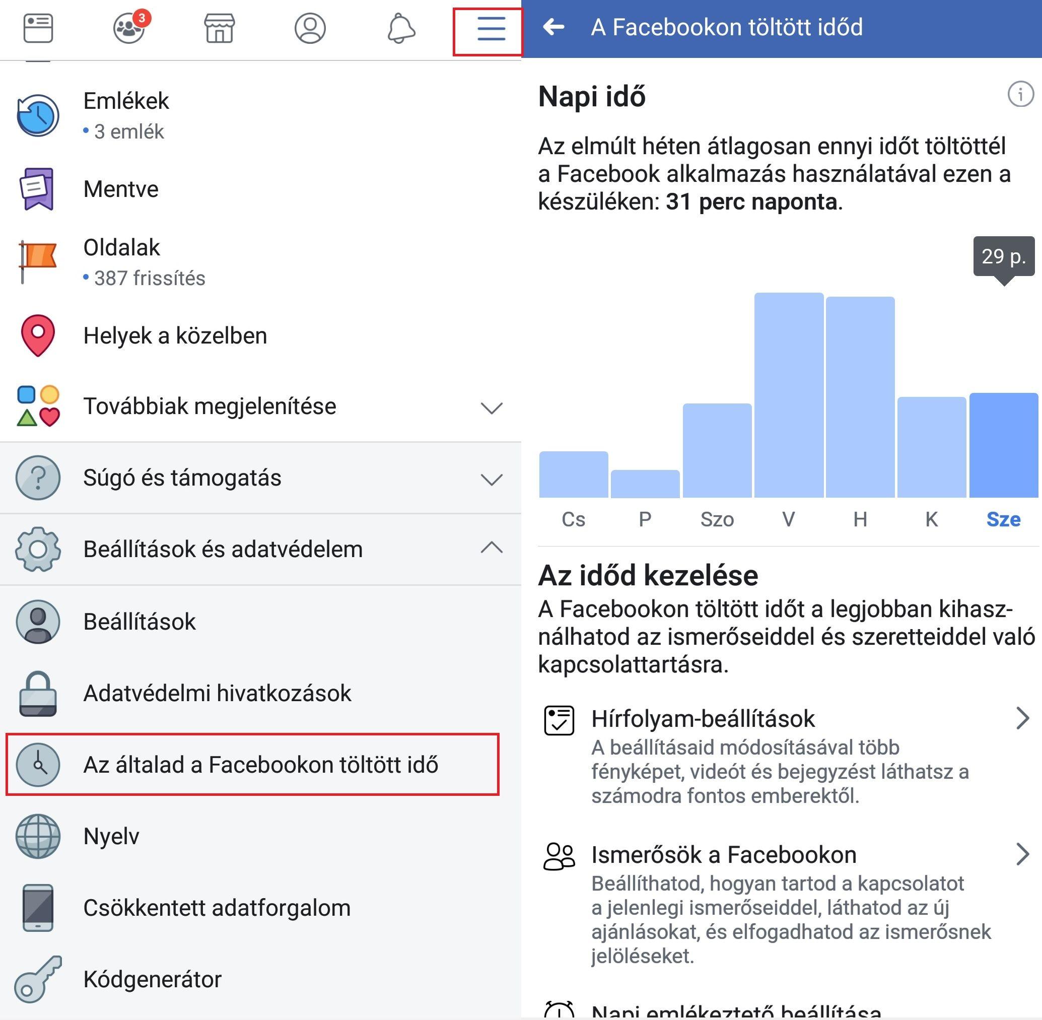 facebookban eltöltött órák számának megnézése
