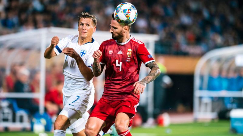 Robin Lod and Tamás Kádár during the UEFA Nations League football match between Finland and Hungary at the Tampere Stadion in Tampere, Finland on 9 September 2018. (Photo by Antti Yrjonen/NurPhoto via Getty Images)