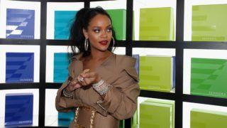 "DUBAI, UNITED ARAB EMIRATES - SEPTEMBER 29:  Rihanna arrives for the launch of  Fenty Beauty's Stunna Lip paint ""Uninvited"" at Sephora Dubai Mall on September 29, 2018 in Dubai, United Arab Emirates.  (Photo by Francois Nel/Getty Images for Fenty Beauty)"