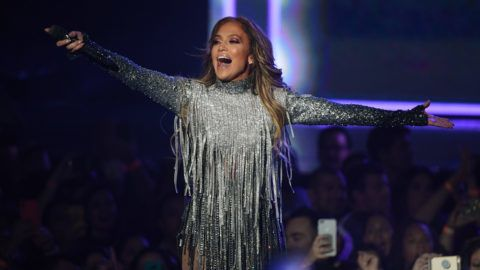 """LAS VEGAS, NV - SEPTEMBER 29:  Jennifer Lopez performs during the finale of her residency, """"JENNIFER LOPEZ: ALL I HAVE"""" at Zappos Theater at Planet Hollywood Resort & Casino on September 29, 2018 in Las Vegas, Nevada.  (Photo by Ethan Miller/Getty Images for Caesars Entertainment)"""