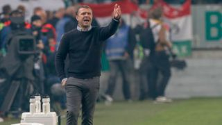 BUDAPEST, HUNGARY - SEPTEMBER 29: Head coach Serhiy Rebrov of Ferencvarosi TC reacts during the Hungarian OTP Bank Liga match between Ferencvarosi TC and Ujpest FC at Groupama Arena on September 29, 2018 in Budapest, Hungary. (Photo by Laszlo Szirtesi/Getty Images)