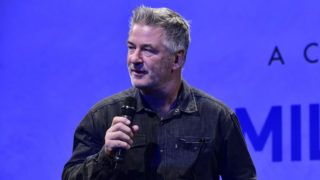 SAG HARBOR, NY - OCTOBER 06:  HIFF co-chairman Alec Baldwin speaks on stage during the Conversation with Emilio Estevez at Bay Street Theater during Hamptons International Film Festival 2018 - Day Three on October 6, 2018 in Sag Harbor, New York.  (Photo by Eugene Gologursky/Getty Images for Hamptons International Film Festival)