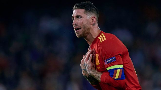 Sergio Ramos of Spain reacts during the UEFA Nations League A group four match between Spain and England at Benito Villamarin on October 15, 2018 in Sevilla, Spain (Photo by David Aliaga/NurPhoto via Getty Images)