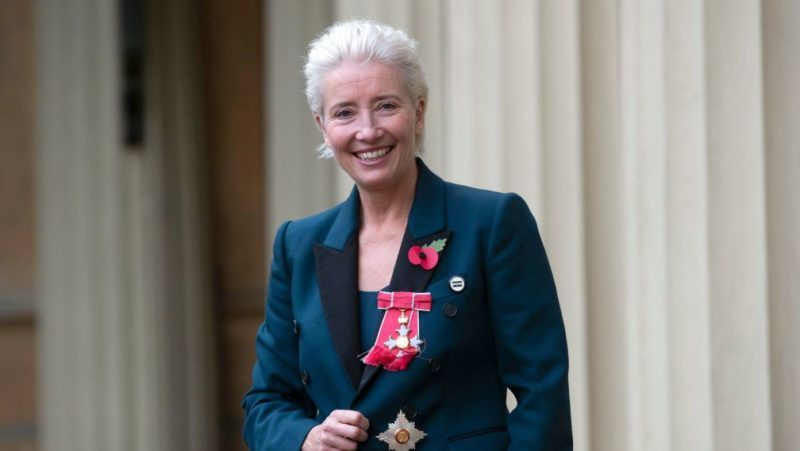 LONDON, ENGLAND - NOVEMBER 7:  Actress Emma Thompson leaves Buckingham Palace after receiving her damehood at an Investiture ceremony on November 7, 2018 in London, England. Ms Thompson, 59, received the accolade in recognition of her services to drama. (Photo by Steve Parsons - WPA Pool/Getty Images)