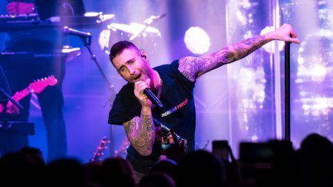 PHILADELPHIA, PA - NOVEMBER 10:  Singer-songwriter Adam Levine of Maroon 5 performs during Philly Fights Cancer: Round 4 at The Philadelphia Navy Yard on November 10, 2018 in Philadelphia, Pennsylvania.  (Photo by Gilbert Carrasquillo/Getty Images)
