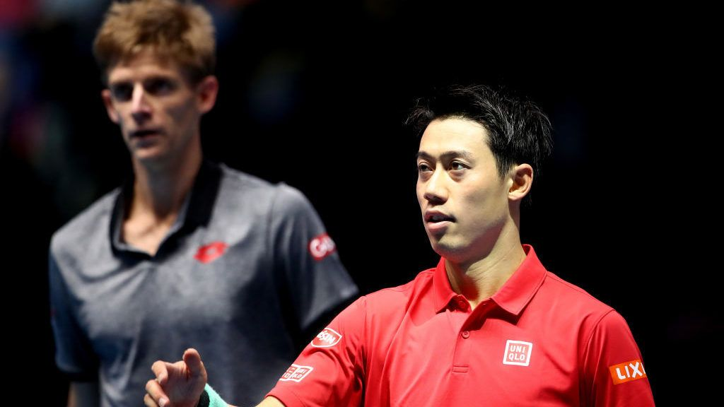 LONDON, ENGLAND - NOVEMBER 13:  Kei Nishikori of Japan reacts during his singles round robin match against Kevin Anderson of South Africa during Day Three of the Nitto ATP World Tour Finals at The O2 Arena on November 13, 2018 in London, England.  (Photo by Clive Brunskill/Getty Images)