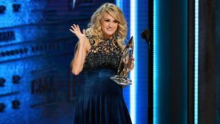 NASHVILLE, TN - NOVEMBER 14:  (FOR EDITORIAL USE ONLY) Carrie Underwood accepts the Female Vocalist of the Year Award onstage during the 52nd annual CMA Awards at the Bridgestone Arena on November 14, 2018 in Nashville, Tennessee.  (Photo by Erika Goldring/WireImage,)