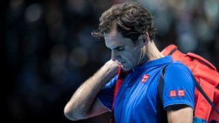 LONDON, ENGLAND - NOVEMBER 17: Roger Federer of Switzerland leaves the court after loosing his semi finals singles match to Alexander Zverev of Germany during Day Seven of the Nitto ATP Finals at The O2 Arena on November 17, 2018 in London, England.  (Photo by Fred Lee/Getty Images)