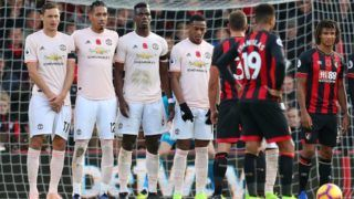 BOURNEMOUTH, ENGLAND - NOVEMBER 03: Nemanja Matic of Manchester United lines up with team mates Chris Smalling, Paul Pogba and Anthony Martial during the Premier League match between AFC Bournemouth and Manchester United at Vitality Stadium on November 03, 2018 in Bournemouth, United Kingdom. (Photo by Catherine Ivill/Getty Images)