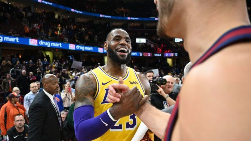CLEVELAND, OH - NOVEMBER 21: LeBron James #23 of the Los Angeles Lakers shakes hands with Larry Nance Jr. #22 of the Cleveland Cavaliers after the game at Quicken Loans Arena on November 21, 2018 in Cleveland, Ohio. The Lakers defeated the Cavaliers 109-105. NOTE TO USER: User expressly acknowledges and agrees that, by downloading and/or using this photograph, user is consenting to the terms and conditions of the Getty Images License Agreement. (Photo by Jason Miller/Getty Images)
