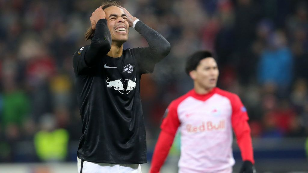 SALZBURG, AUSTRIA - NOVEMBER 29: Yussuf Poulsen of RB Leipzig reacts during the UEFA Europa League Group B match between RB Salzburg and RB Leipzig at Red Bull Arena on November 29, 2018 in Salzburg, Austria.  (Photo by Alexander Hassenstein/Getty Images)