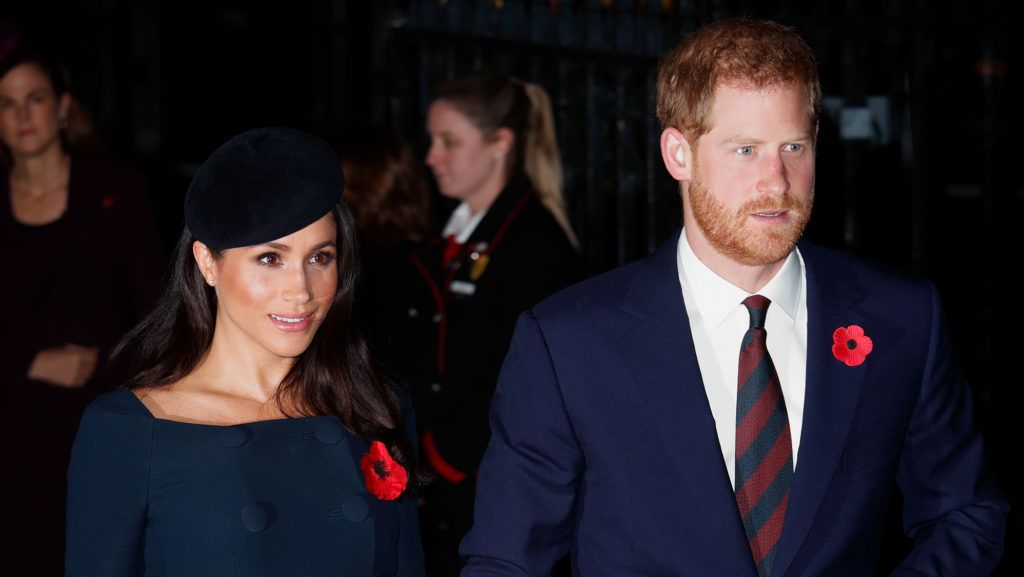 LONDON, UNITED KINGDOM - NOVEMBER 11: (EMBARGOED FOR PUBLICATION IN UK NEWSPAPERS UNTIL 24 HOURS AFTER CREATE DATE AND TIME) Meghan, Duchess of Sussex and Prince Harry, Duke of Sussex attend a service to mark the centenary of the Armistice at Westminster Abbey on November 11, 2018 in London, England. The Armistice ending the First World War between the Allies and Germany was signed at Compiègne, France on eleventh hour of the eleventh day of the eleventh month - 11am on the 11th November 1918. This day is commemorated as Remembrance Day with special attention being paid for this year's centenary. (Photo by Max Mumby/Indigo/Getty Images)