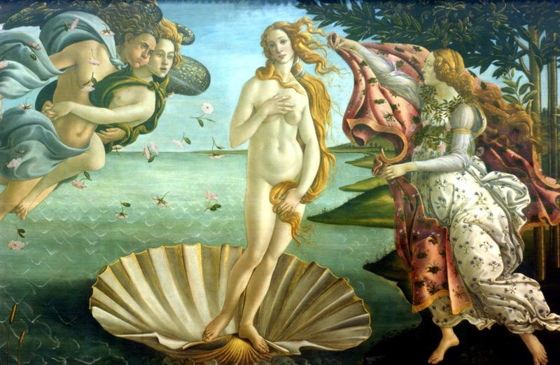 """FLORENCE, ITALY - MARCH 9:  A detail of """"Birth of Venus"""" by painter Sandro Botticelli is shown at the Uffizi Gallery March 9, 2004 in Florence, Italy. Florence is on the eve of the most important exhibition of the painter Sandro Botticelli, which will open March 11 at Palazzo Strozzi.  (Photo by Franco Origlia/Getty Images)"""