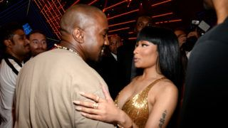 LOS ANGELES, CA - AUGUST 30:  Kanye West and Nicki Minaj attend the 2015 MTV Video Music Awards at Microsoft Theater on August 30, 2015 in Los Angeles, California.  (Photo by Kevin Mazur/MTV1415/WireImage)