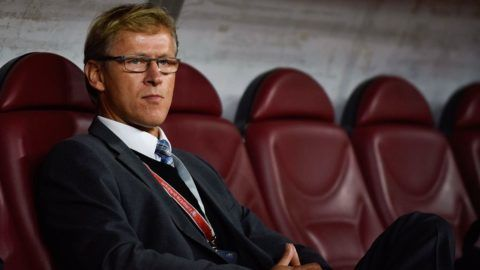 Markku Kanevra the main coach of Finland National Team during the UEFA Euro 2016 Qualifying Round - Group F game between Romania national football team (ROU) vs Finland national football team (FIN) at National Arena Stadium in Bucharest, Romania ROU, on October 10, 2015. (Photo by Catalin Soare/NurPhoto) (Photo by NurPhoto/NurPhoto via Getty Images)