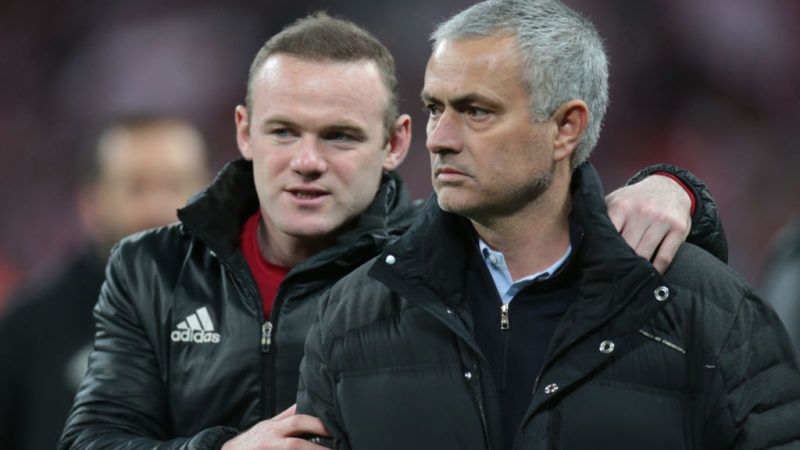 L-R Manchester United's Wayne Rooney and Manchester United manager Jose Mourinho during the EFL Cup Match between Manchester United and Southampton on February 26 at the Wembley Stadium, London (Photo by Kieran Galvin/NurPhoto via Getty Images)