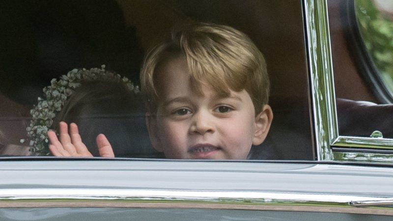 ENGLEFIELD GREEN, ENGLAND - MAY 20:  Pageboy Prince George of Cambridge waves as he leaves by car the wedding Of Pippa Middleton and James Matthews at St Mark's Church on May 20, 2017 in Englefield Green, England.  (Photo by Samir Hussein/Samir Hussein/WireImage)