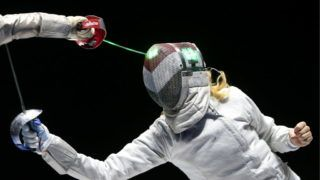 MOSCOW, RUSSIA  JUNE 4, 2017: Hungary's Anna Marton competes against France's Charlotte Lembach (not in picture) in the women's individual sabre final match at the 2017 Moscow Sabre International Fencing Tournament, a Grand Prix of the 46th FIE Fencing World Cup, at VTB Ice Palace. Valery Sharifulin/TASS (Photo by Valery SharifulinTASS via Getty Images)