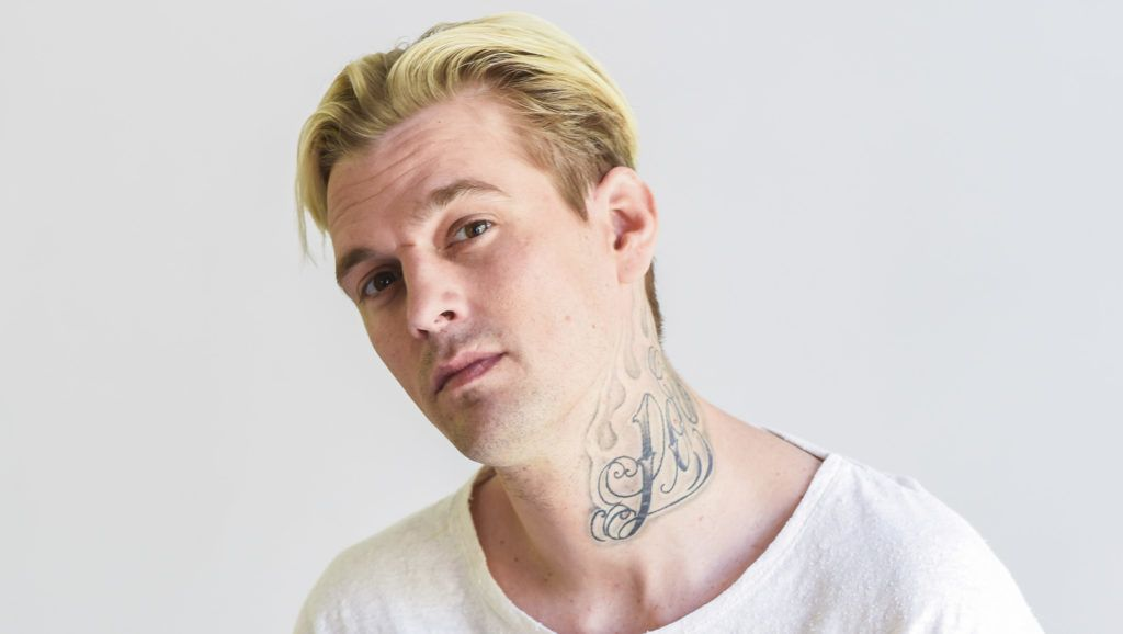 LOS ANGELES, CA - APRIL 11:  Aaron Carter poses for portrait sitting in an Ulloo42 chair at Visual Snow Initiative visits The Artists Projecton April 11, 2018 in Los Angeles, California.  (Photo by Michael Bezjian/Getty Images for The Artists Project)
