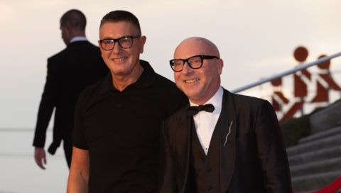 MEXICO CITY, MEXICO - APRIL 18:  Fashion designers Stefano Gabbana and Domenico Dolce attend the Dolce & Gabbana Alta Moda and Alta Sartoria collections fashion show at Soumaya Museum on April 18, 2018 in Mexico City, Mexico.  (Photo by Victor Chavez/Getty Images)