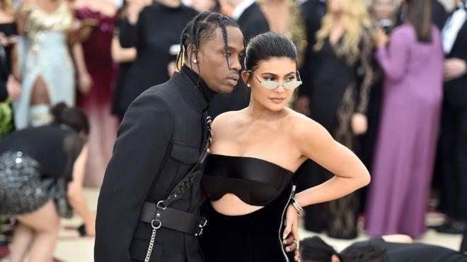 NEW YORK, NY - MAY 07:  Travis Scott and Kylie Jenner attend the Heavenly Bodies: Fashion & The Catholic Imagination Costume Institute Gala at The Metropolitan Museum of Art on May 7, 2018 in New York City.  (Photo by Theo Wargo/Getty Images for Huffington Post)