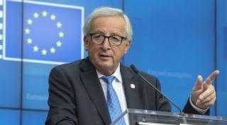 Brüsszel, 2018. október 18. Jean-Claude Juncker, az Európai Bizottság elnöke sajtóértekezleten az Európai Unió brüsszeli csúcstalálkozójának második napján, 2018. október 18-án. MTI/EPA/Olivier Hoslet *** Local Caption *** Jean-Claude Juncker, az Európai Bizottság elnöke sajtóértekezleten az Európai Unió brüsszeli csúcstalálkozójának második napján, 2018. október 18-án.