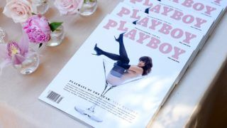 LOS ANGELES, CA - MAY 04: View of 2018 Playmate of the Year Nina Daniele's cover at the Playboy's 2018 Playmate of the Year Celebration at Beauty & Essex on May 4, 2018 in Los Angeles, California.   Charley Gallay/Getty Images for Playboy/AFP