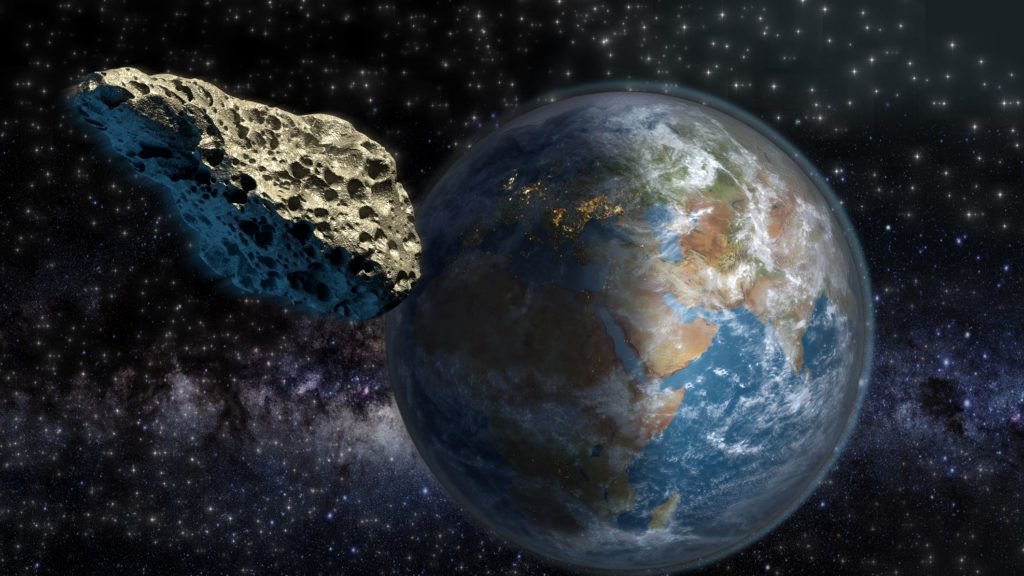 Asteroid on a collision course with Earth. Elements of this illustration furnished by NASA. The 3D mapping of Earth background uses a file provided under general permission by NASA on the following link: http://www.nasa.gov/multimedia/guidelines