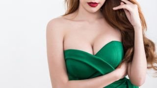Beautiful slim woman body isolated on white background