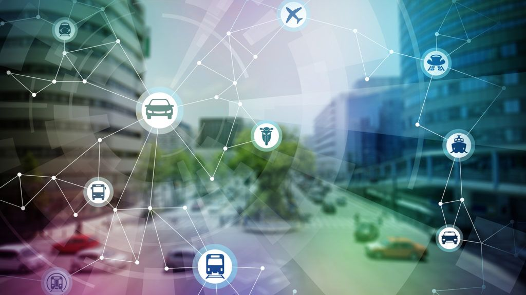 modern cityscape and various transportation network, conceptual abstract image