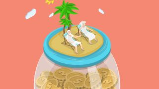 Retirement fund flat isometric vector concept. Aged couple is laying on the beach chairs on the sea shore that located on the top of the huge glass jar with coins.