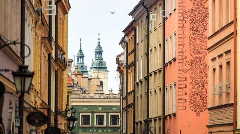Beautiful colorful tenements in the city center of Warsaw, Poland, Europe