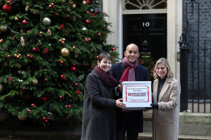 People's Vote campaigners, British politicians, Green party MP Caroline Lucas (L), Labour Party MP Chuka Umunna, and Conservative MP Justine Greening deliver a petition to 10 Downing Street, the official residence of Britain's Prime Minister Theresa May, in London on December 3, 2018. - The petition calls for the public to be given a chance to reject the final Brexit deal in favour of staying in the European Union (EU). (Photo by Daniel LEAL-OLIVAS / AFP)