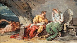 Numa Pompilius (personnage lÈgendaire, deuxiËme roi de Rome) reÁoit de la nymphe EgÈrie les lois de Rome. Felice GIANI (1758-1823). Salle des legislations, palais de l'ambassade espagnole, Rome.