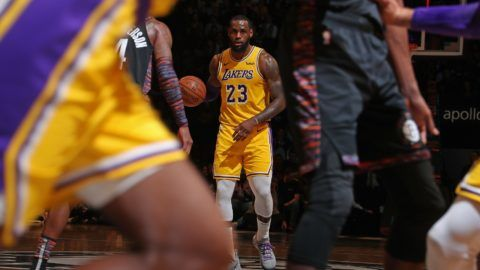 BROOKLYN, NY - DECEMBER 18: LeBron James #23 of the Los Angeles Lakers handles the ball against the Brooklyn Nets on December 18, 2018 at Barclays Center in Brooklyn, New York. NOTE TO USER: User expressly acknowledges and agrees that, by downloading and or using this Photograph, user is consenting to the terms and conditions of the Getty Images License Agreement. Mandatory Copyright Notice: Copyright 2018 NBAE   Nathaniel S. Butler/NBAE via Getty Images/AFP