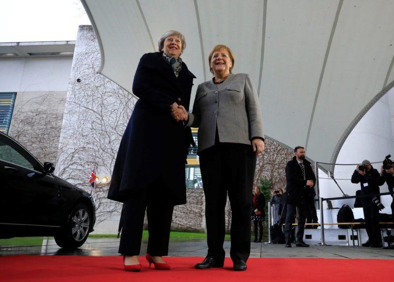 BERLIN, GERMANY - DECEMBER 11: British Prime Minister Theresa May is welcomed by German Chancellor Angela Merkel in Berlin, Germany on December 11, 2018. Abdulhamid Hosbas / Anadolu Agency