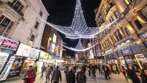 Night view with Christmas decoration of the crowded pedestrianized Leicester square near St James in West End, City of Westminster in the center of London, UK the square is known for the theatreland as well on 30 November 2018. (Photo by Nicolas Economou/NurPhoto)