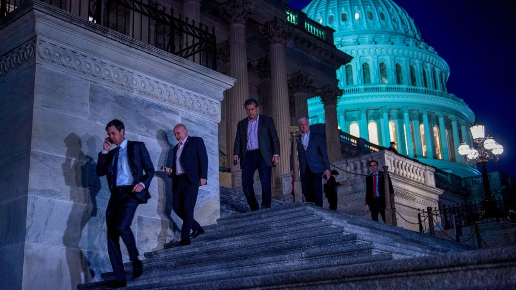 Members of the House of Representatives leave after a vote on Capitol Hill after the House and Senate moved to end a government shutdown, on January 22, 2018 in Washington, DC. - Lawmakers Monday approved a temporary funding bill that clears the way to ending a three-day government shutdown triggered by feuding over immigration policy. The stopgap bill, which in addition to funding the government through February 8 also reauthorizes a popular children's health insurance program, now heads to the White House where President Donald Trump is expected to sign it into law. (Photo by Brendan Smialowski / AFP)