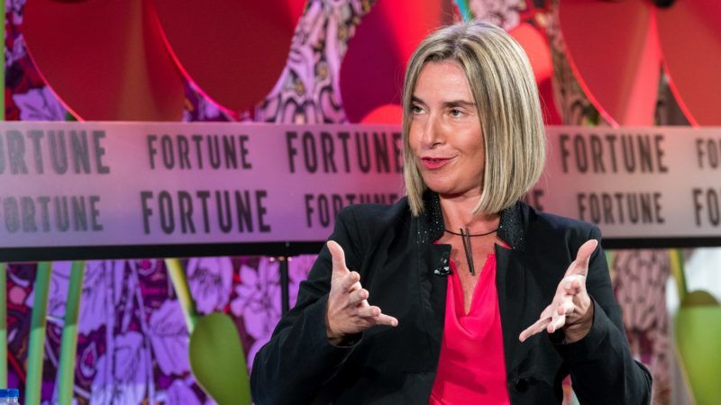 HRVP of EU Federica Mogherini speaks to the audience during a dinner at the Fortune Most Powerful Women Summit 2018, Ritz Carlton Hotel in Montreal, on November 6, 2018. (Photo by MARTIN OUELLET-DIOTTE / AFP)