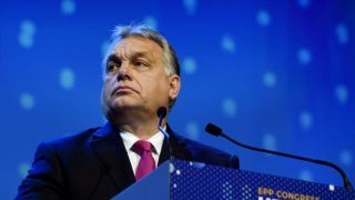 President of Hungary Viktor Orban speaks at the European People's Party (EPP) congress in Helsinki, Finland, on November 8, 2018. - EPP, the largest political family in the European Union (EU), are to elect their top candidate for the 2019 European elections. (Photo by Markku Ulander / Lehtikuva / AFP) / Finland OUT