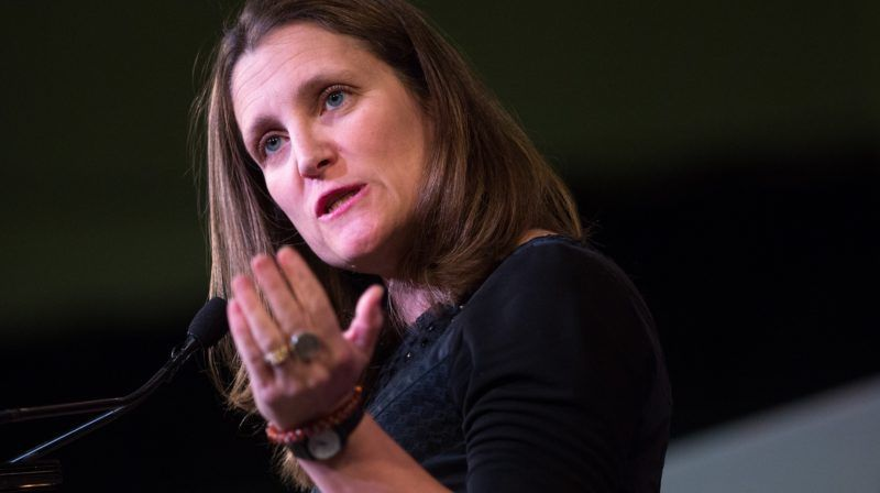 """(FILES) In this file photo taken on April 23, 2018, Canadian Foreign Minister Chrystia Freeland speaks during a media availability at the G7 Foreign Minister meeting in Toronto. - Freeland said on December 12, 2018, a second Canadian was being questioned by China, after Beijing earlier this week notified Ottawa it had detained a former Canadian diplomat. """"We are aware of a Canadian who got in touch with us because he was being asked questions by Chinese authorities,"""" Foreign Minister Chrystia Freeland told a press conference. (Photo by Lars Hagberg / AFP)"""