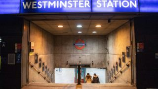 Westminster station in London, an underground tube station in the City of Westminster, London,  UK serving the Circle, District and Jubilee lines. It was first opened in 1868 and is a deep level down station with platforms having edge doors. (Photo by Nicolas Economou/NurPhoto)