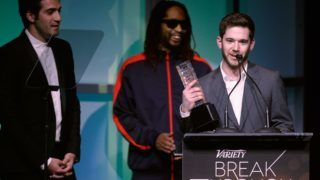 FILE - DECEMBER 16: HQ Trivia and Vine co-founder Colin Kroll has died at the age of 35 of a suspected drug overdose. LAS VEGAS, NV - JANUARY 09: Honorees Rus Yusupov (L) and Colin Kroll (R) accept the Breakthrough Award for Emerging Technology from rapper Lil Jon (C) onstage at the Variety Breakthrough of the Year Awards during the 2014 International CES at The Las Vegas Hotel & Casino on January 9, 2014 in Las Vegas, Nevada.   Isaac Brekken/Getty Images for Variety/AFP