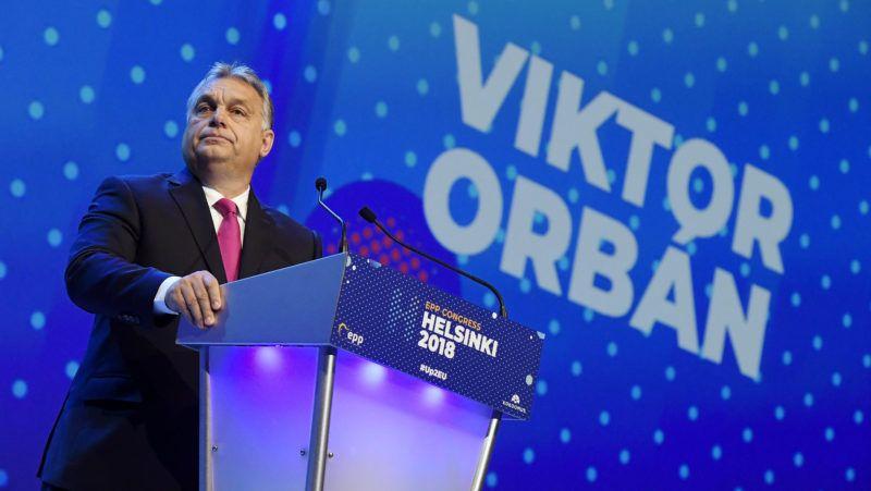Helsinki, 2018. november 8. Orbán Viktor miniszterelnök felszólal az Európai Néppárt kongresszusán a Messukeskus Kongresszusi Központban, Helsinkiben 2018. november 8-án. MTI/Koszticsák Szilárd