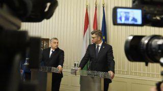 Zágráb, 2018. december 3. Orbán Viktor miniszterelnök (b) és Andrej Plenkovic horvát miniszterelnök sajtótájékoztatója Zágrábban 2018. december 3-án. MTI/Koszticsák Szilárd
