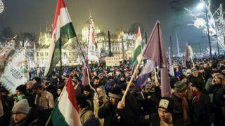 Budapest, 2018. december 21. Ellenzéki tüntetés a fõvárosban a Parlament elõtt, a Kossuth téren 2018. december 21-én. MTI/Mohai Balázs